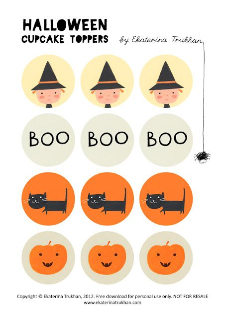 FREE printable halloween cupcake toppers {ekaterina trukhan - free halloween decorations printable