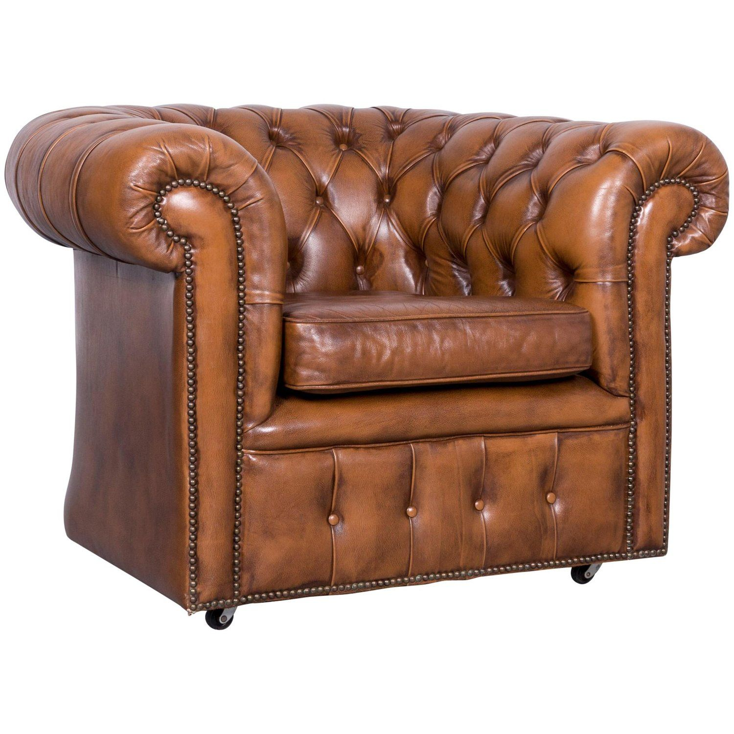 Vintage Brown Chesterfield Leather Armchair Buttoned Clubchair