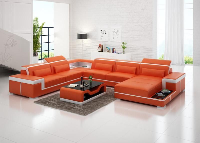 Modern Living Room Sofa Set Leather Sofas Plus Coffee Table Orange Black White Living Room Sofa Set Leather Living Room Furniture Leather Sofa Living Room