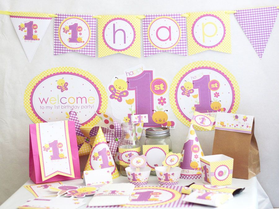 Butterfly 1st birthday Decorations Printable Butterfly first