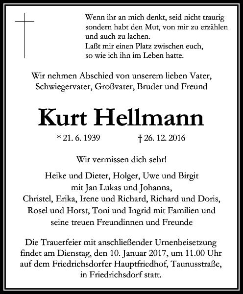 Kurt Hellmann Spruche Trauer Traueranzeigen Trauer