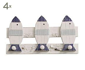 Set di 4 appendini a 3 ganci in legno Pesci - 33x11x4 cm
