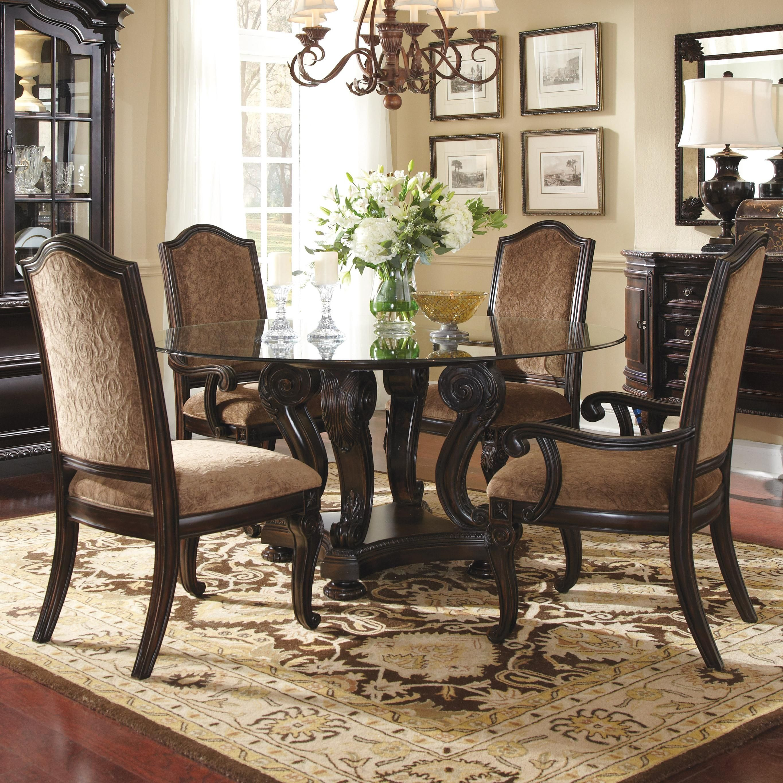 Round glass pedestal dining table set argharts