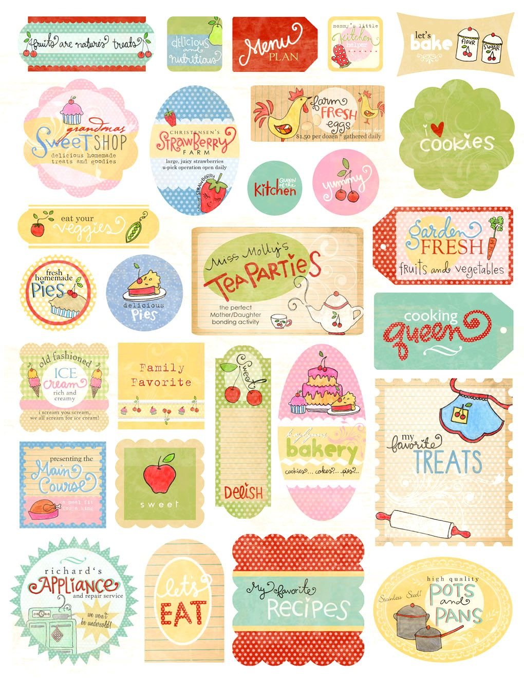 Scrapbook paper and stickers - Kitschy Kitchen Homemade Stickers