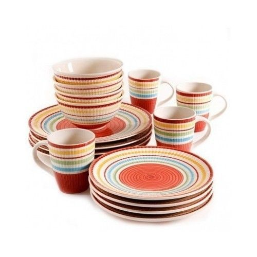 Dinnerware Set 16-Piece Service for 4 Dishes Plates Bowls Mugs Kitchen #Gibson