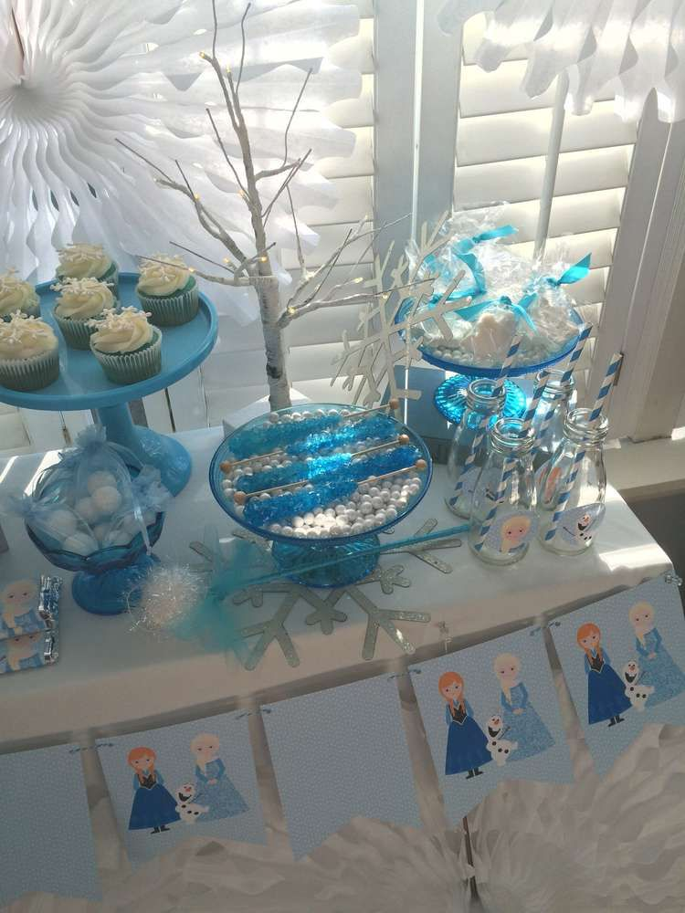 Cute banner at a Frozen birthday party! See more party planning ideas at CatchMyParty.com!