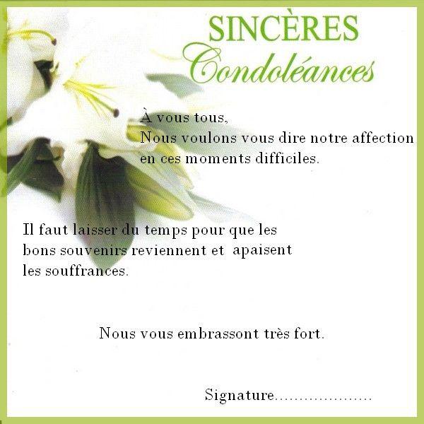 texte carte de condoléances Résultat de recherche d'images pour
