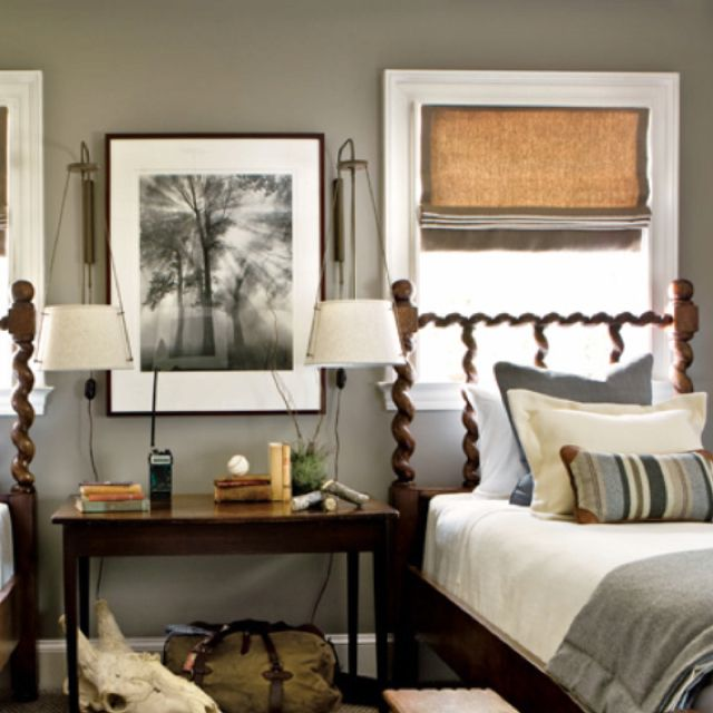 Love The Dark Wood Twin Beds With Gray Bedroom Benjamin Moore Rockport By XJavierx Via Room Decor Design