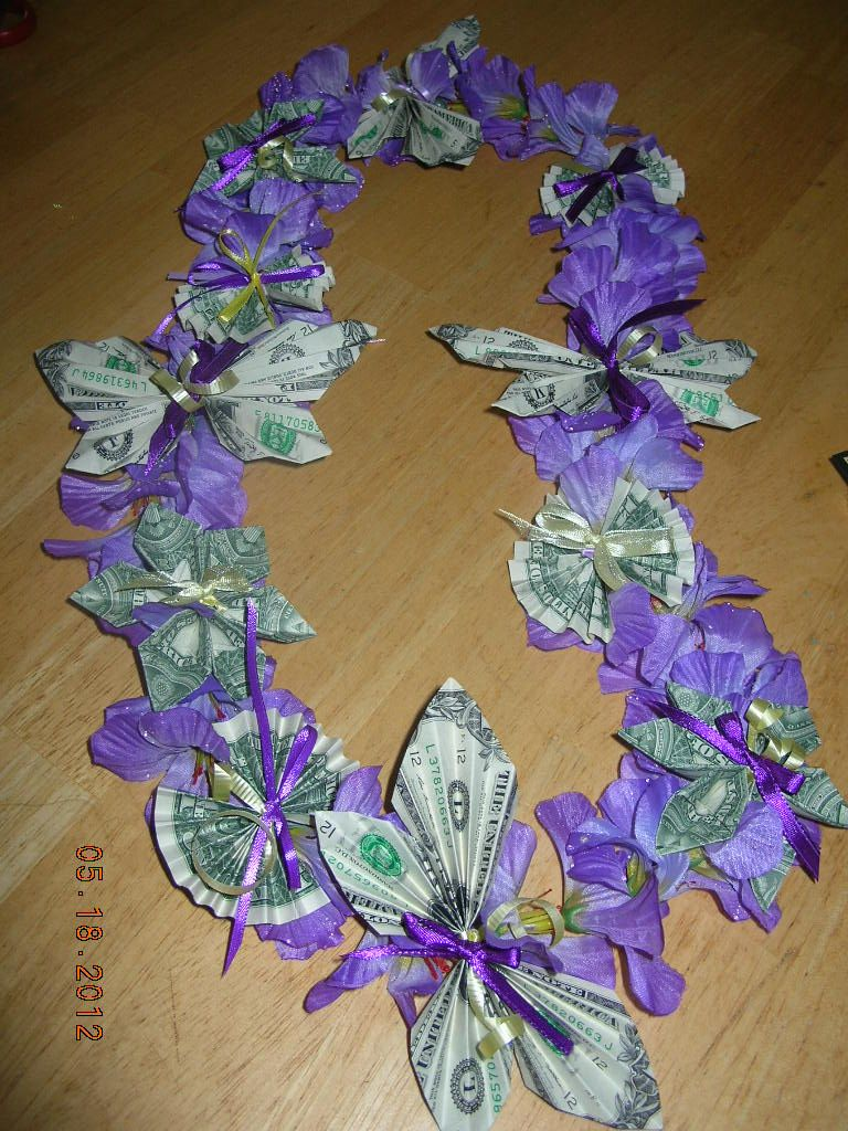 Hawaiian Money Lei with origami money butterfly, fan and ...