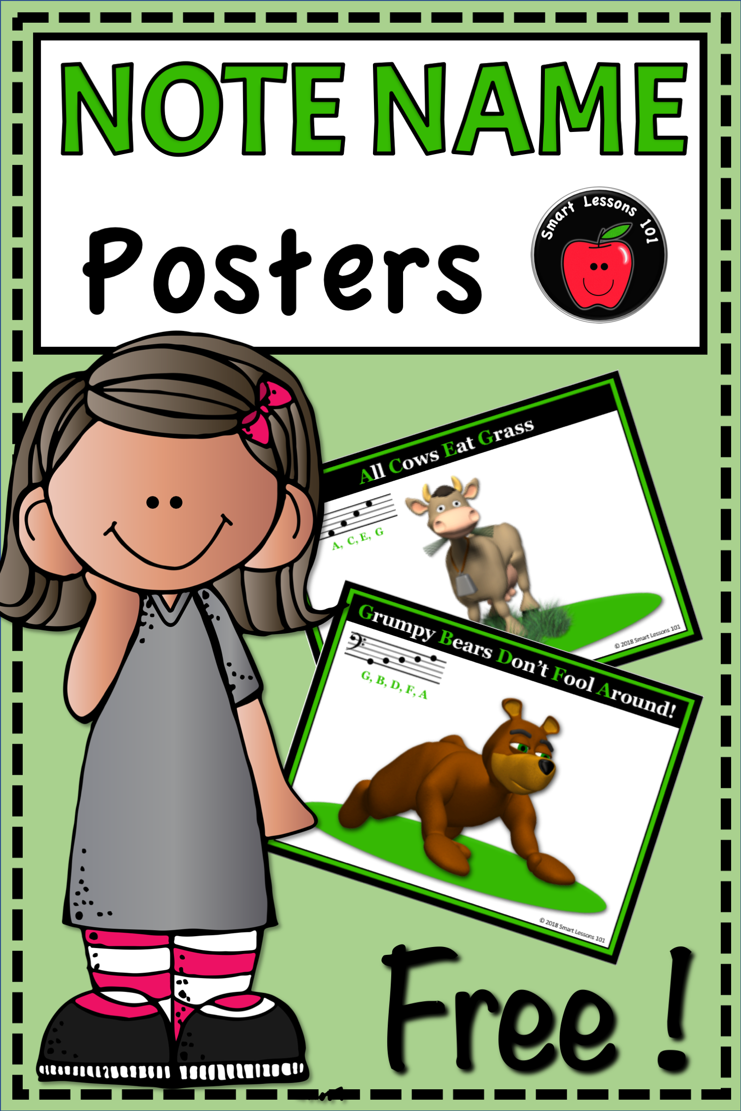 Free Fun Set Of Note Naming Posters To Help Students Read