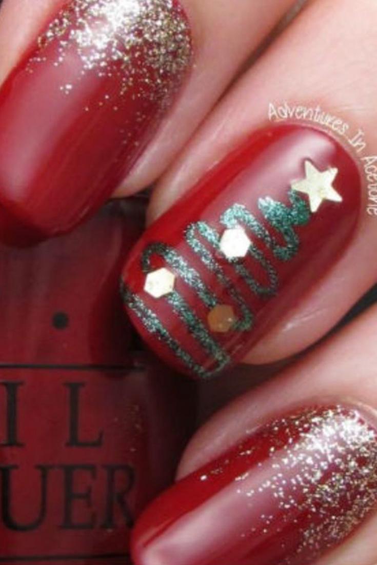 Nail art Noël  nail art or, rouge et paillettes en 2019