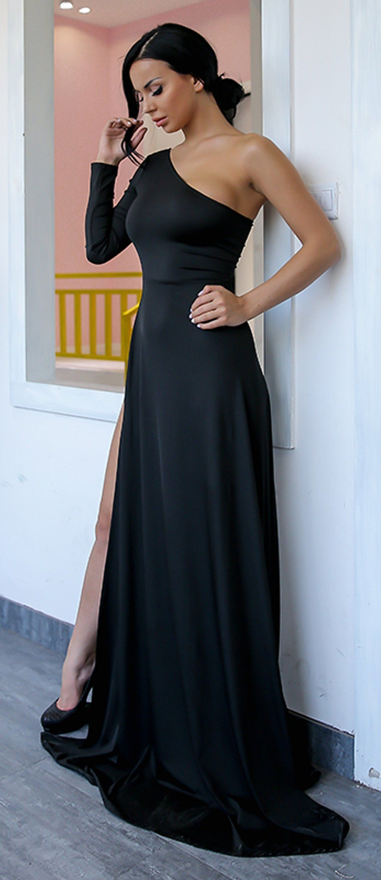 c71fdcaf01e4 Classy Simple Long Prom Dresses with Sleeves in Black - One off the Shoulder  Asymmetrical Tight