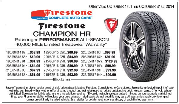 Firestone Champion Hr Special Tire Sale October 2014 Tires For