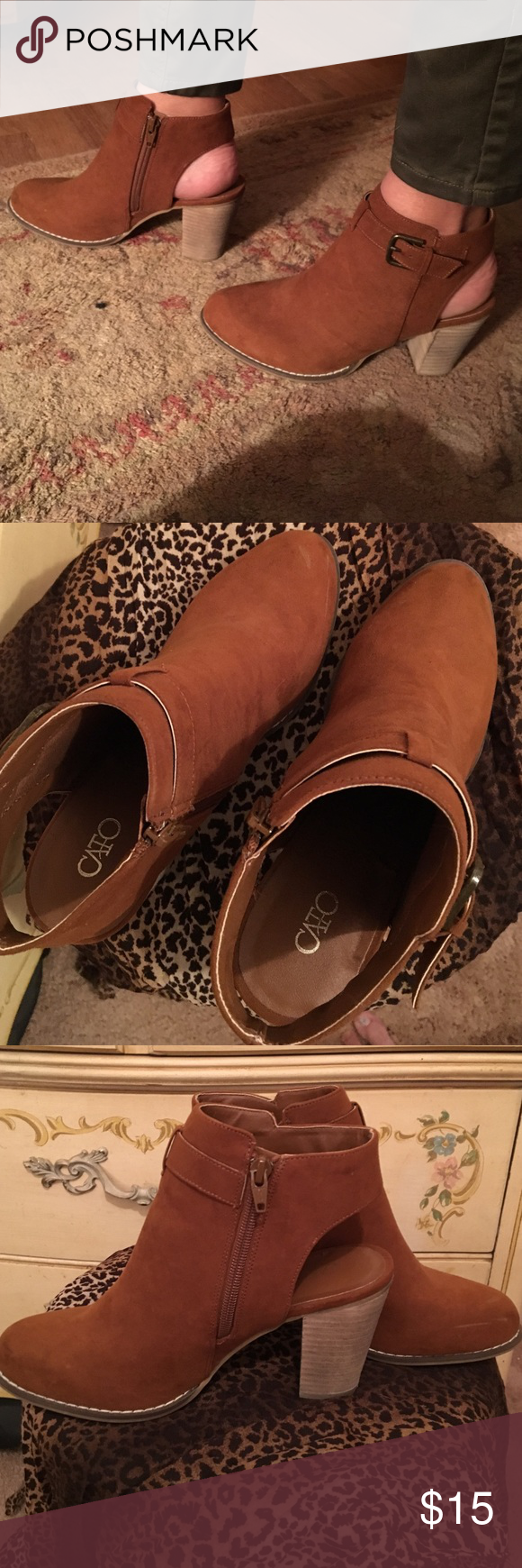Ankle boots Camel brown faux swede with a 3 inch heel. Worn once. I'd like to be the girl who wears heels, but alas...I am not. Lol Cato Shoes Ankle Boots & Booties