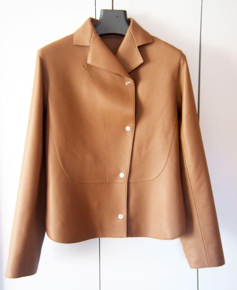 6500 Elegant NEW Hermes Women Cream Beige Leather Jacket Blazer 38 S   Hermes  BasicJacket 1e557c0009a0