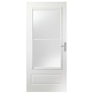 400 Series White Universal Self Storing Aluminum Storm Door With Nickel  Hardware E4SN36WH   The Home Depot
