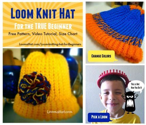 Loom Knitting Hat For Beginners Loom Knits Pinterest Loom