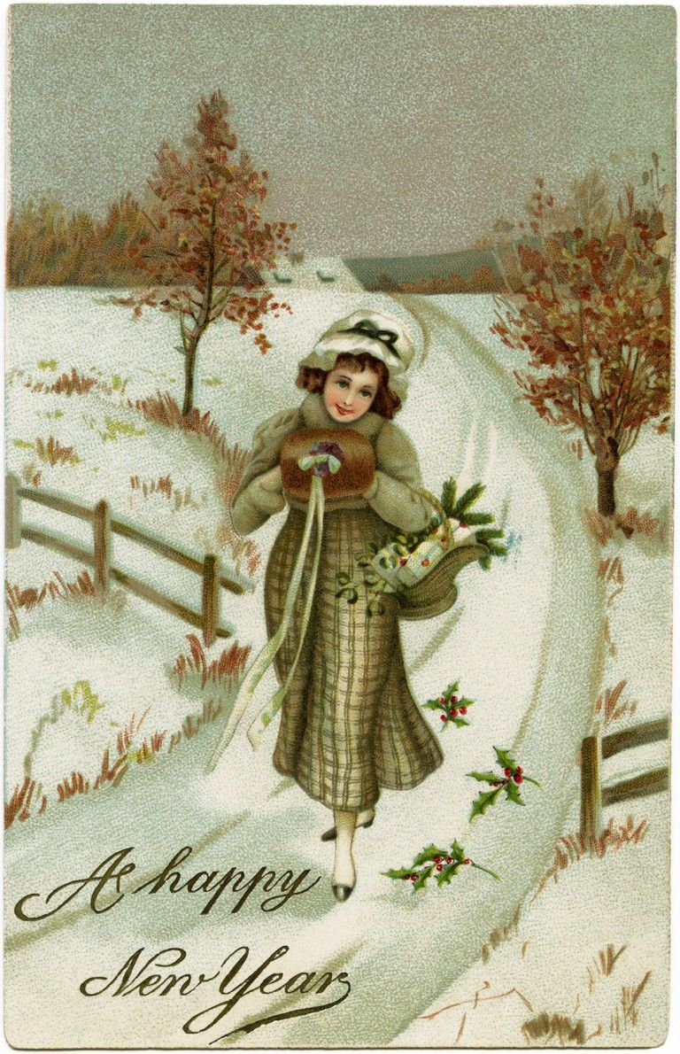 vintage New Year postcard, Victorian lady, antique New