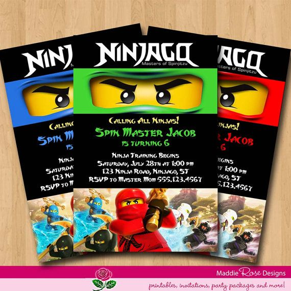 Ninjago Invitation Birthday Party Printable By Maddierosedesignz The Invites Turned Out Great Lego Ninjago Party Lego Ninjago Birthday Ninjago Party