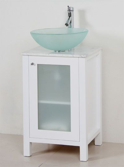 Modern 22 Bathroom Glass Vessel Sink White Solid Wood Vanity
