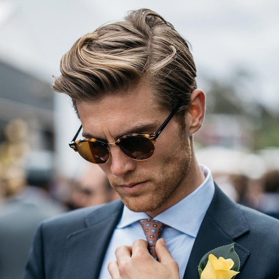 medium length side part hairstyle for men