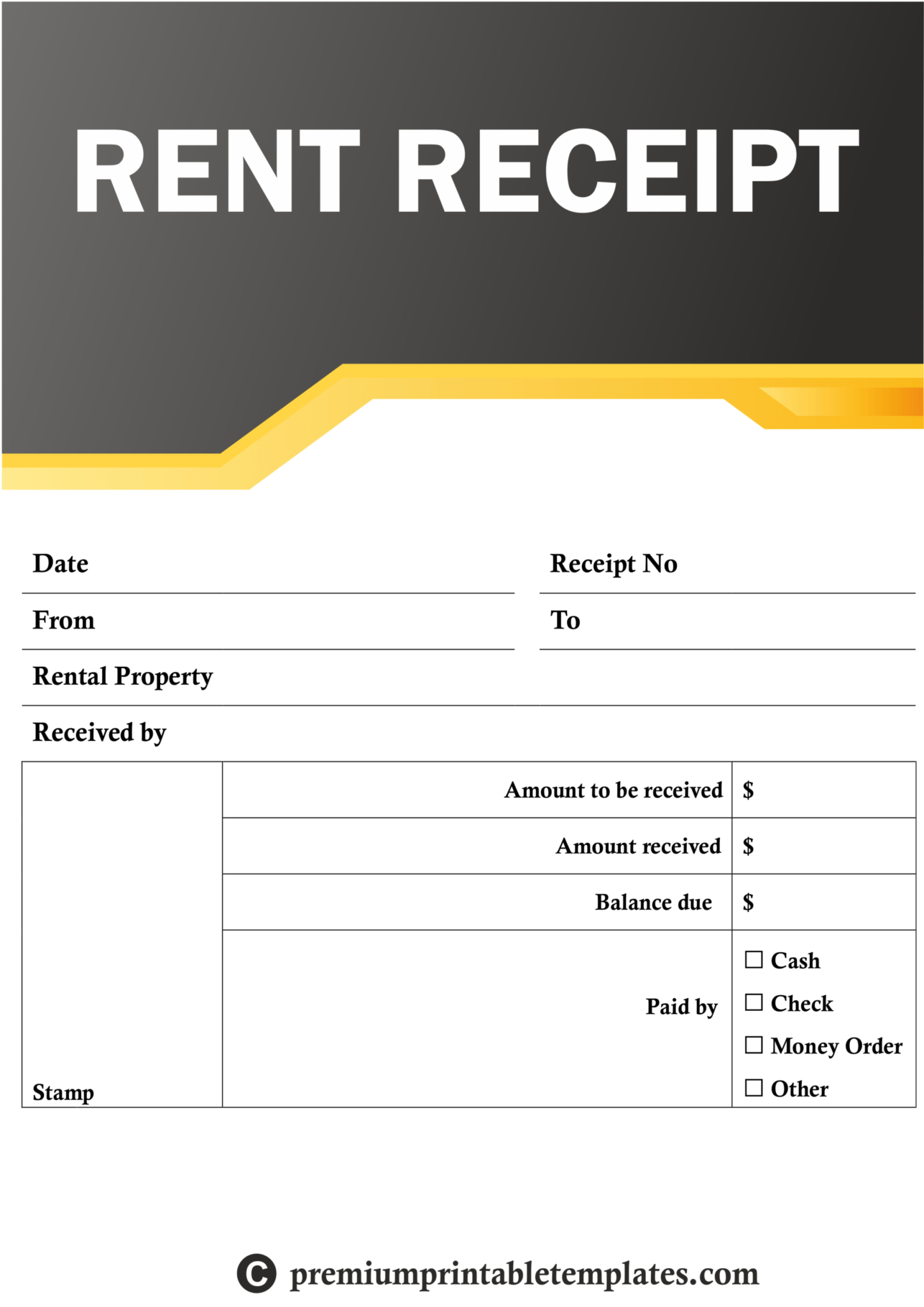 Rent Receipt Templates Premium Printable Templates Inside Blank Taxi Receipt Template Receipt Template Spreadsheet Template Rent