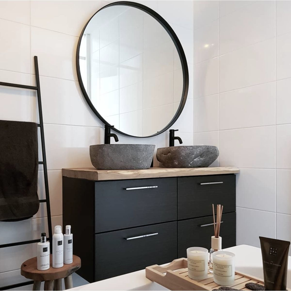 saniclass exclusive line spiegel rond 100cm zwart frame in