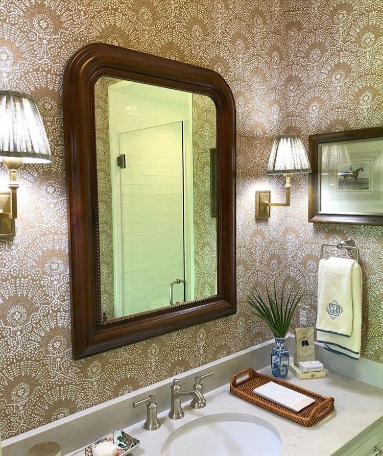 Sister parish wallpaper Country house decor, Guest bath