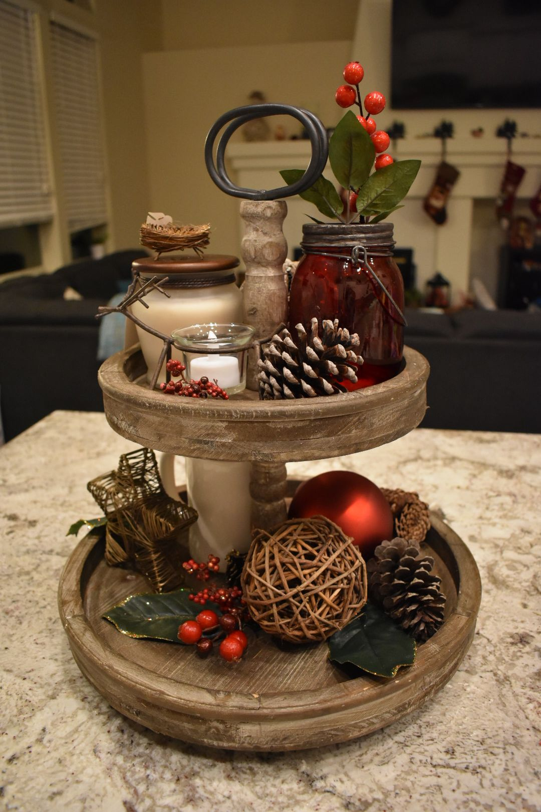 Pin By Kim Pyle On Stuff That Tray Decor Christmas Christmas Tray Tiered Tray Decor