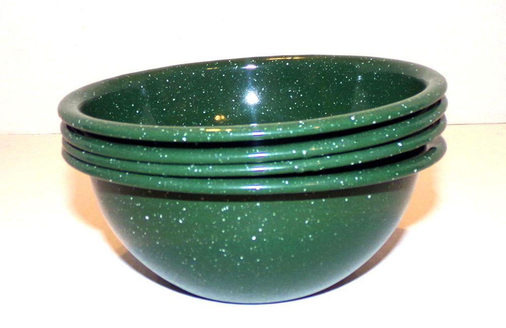 Enamelware Dark Green Speckled Cereal Soup Bowls Set of 4 Vintage