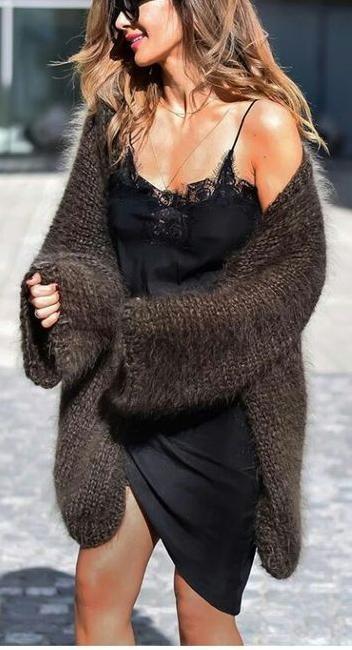 5d7698179fbf lace trim cami dress. knit cardigan. street style. | Something Lacy ...