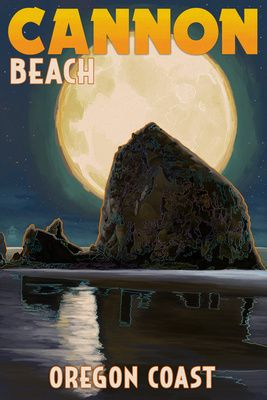 Cannon Beach Oregon Haystack Rock Full Moon Lantern Press Poster