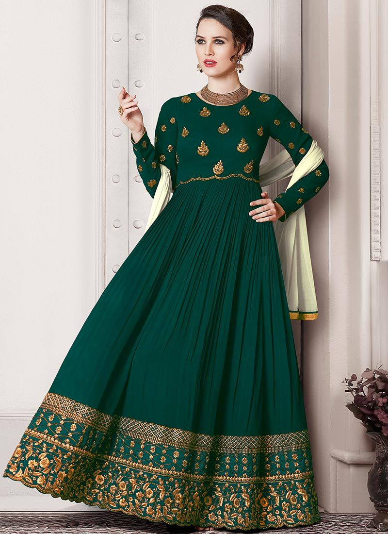 25c3258780 Buy Dark Green Georgette Abaya Style Anarkali Suit online, SKU Code:  SLSVNTRG2. This Green color Party anarkali suit for Women comes with  Embroidered Faux ...
