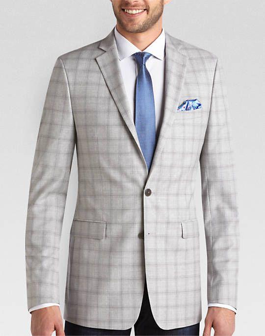 Calvin Klein Light Gray Plaid Extreme Slim Fit Sport Coat | Things ...