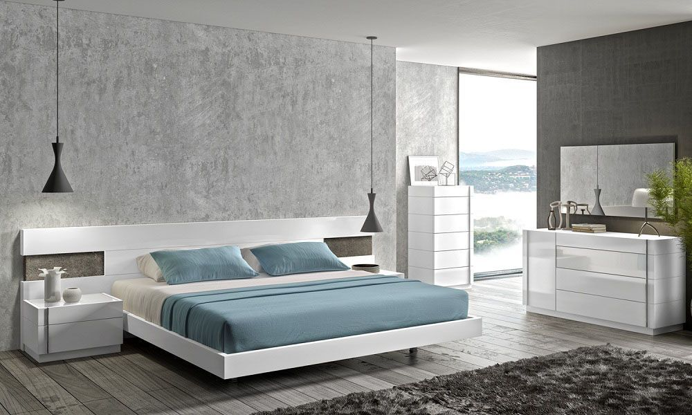 Extra long white headboard bedroom with dimming ambient lights