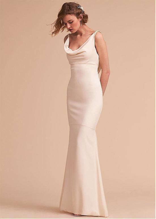 Magbridal Modest Acetate Satin Cowl Neckline Sheath Column Wedding Dress With Detachable Train Wedding Dresses Dresses