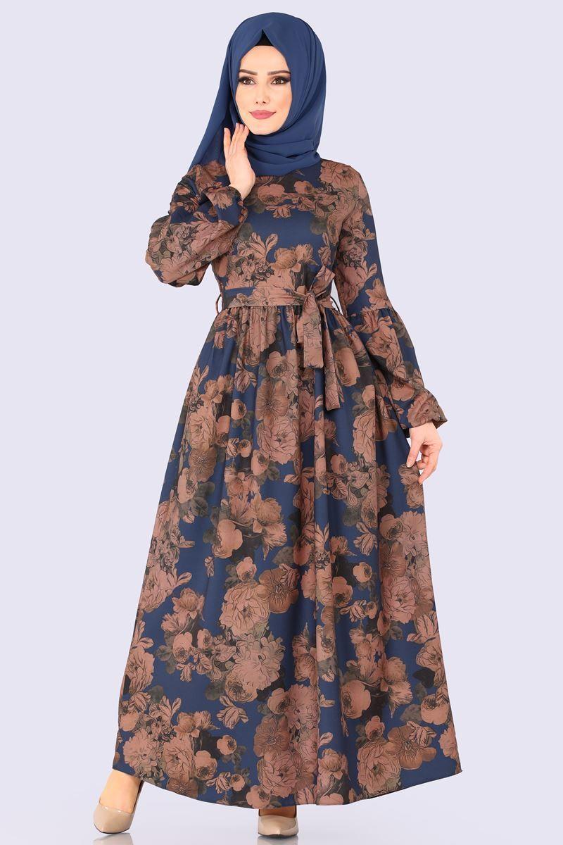 Modaselvim Elbise Dijital Baskili Kemerli Elbise 5133ay342 Indigo Muslim Fashion Dress Muslim Fashion Outfits Muslimah Fashion Outfits