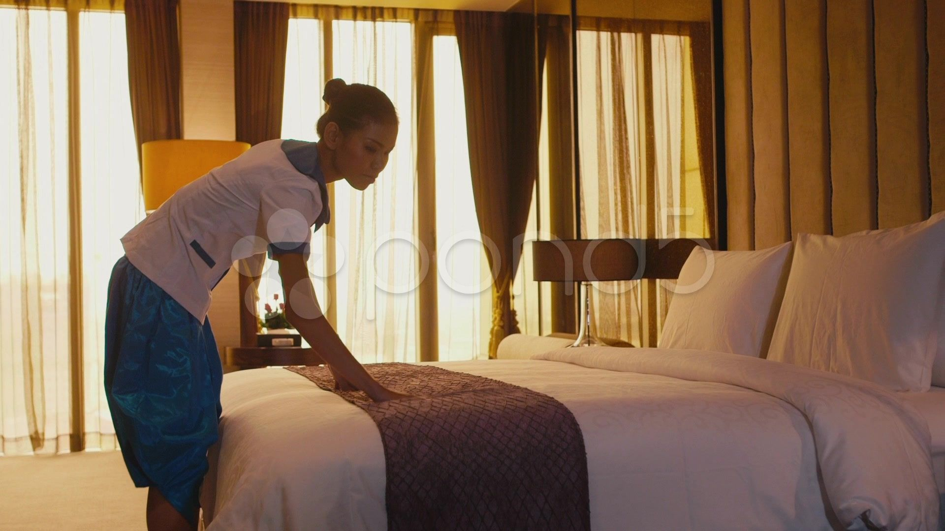 1of5 Asian Maid Cleaning Hotel Room Woman People At Work Stock
