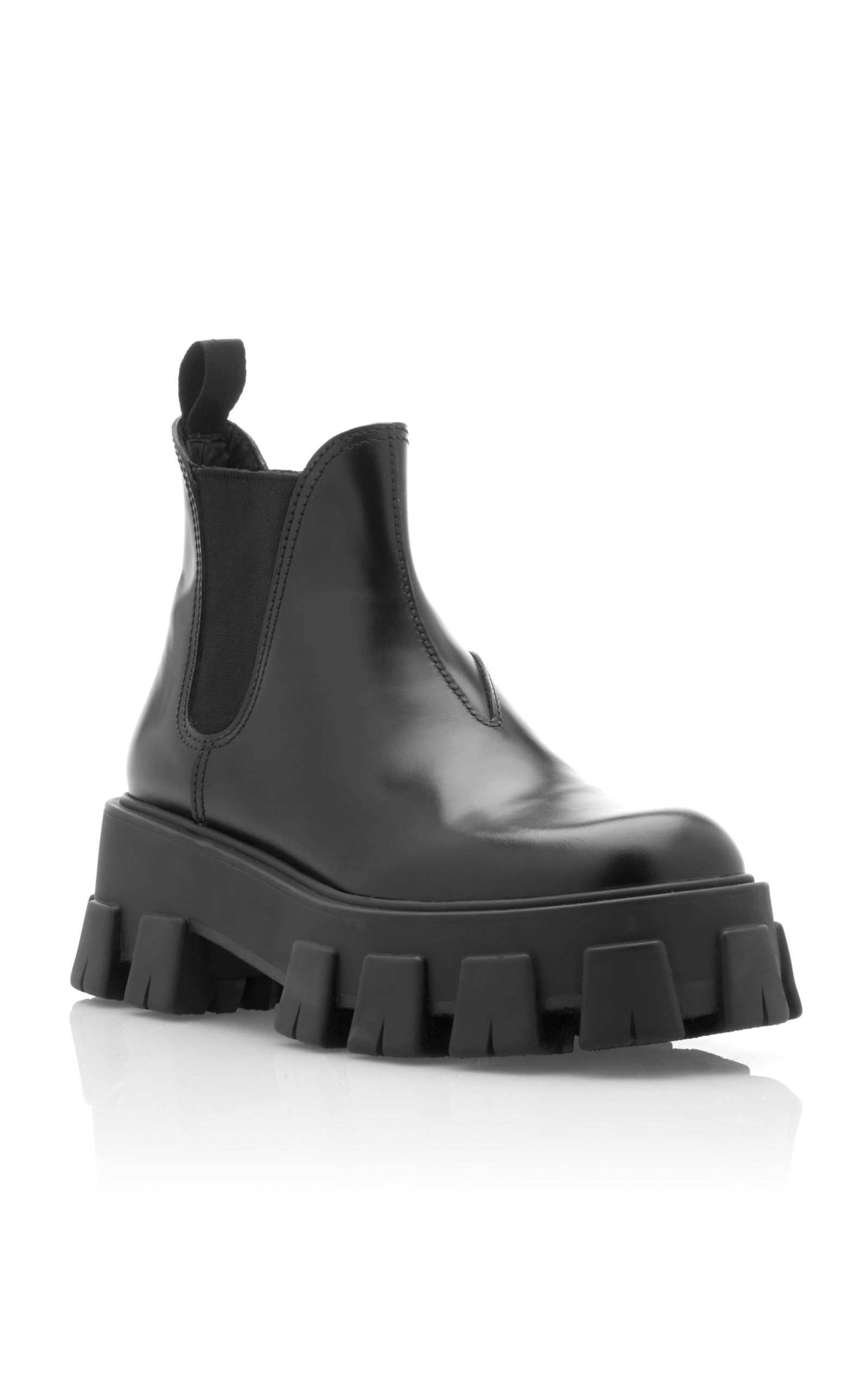 Leather Platform Ankle Boots By Prada