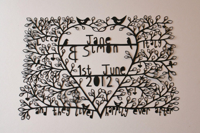 Customised bespoke papercut paper cut wedding gift anniversary