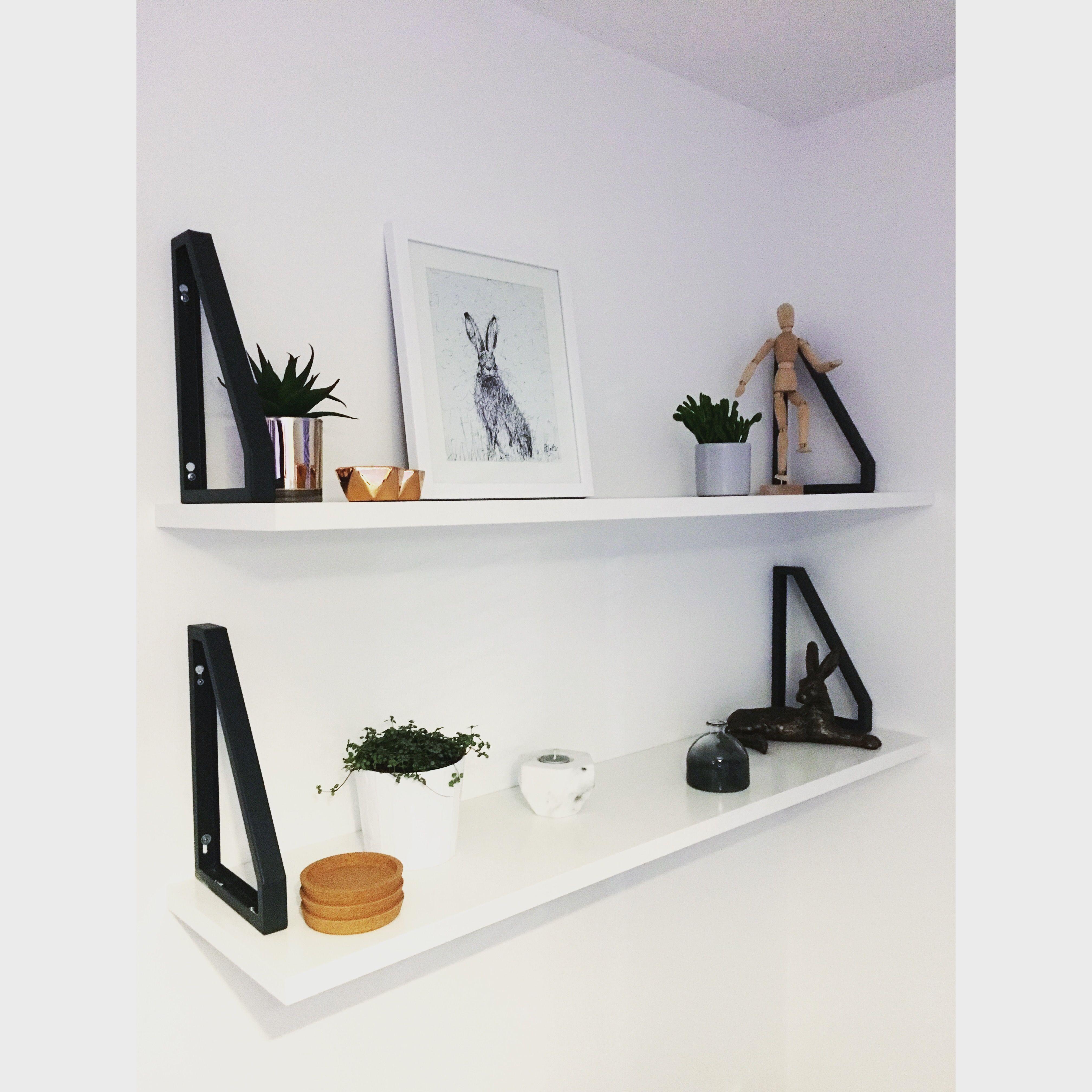 Ikea Hack Ekby Jarpen Shelves With Ekby Lerberg Brackets Placed