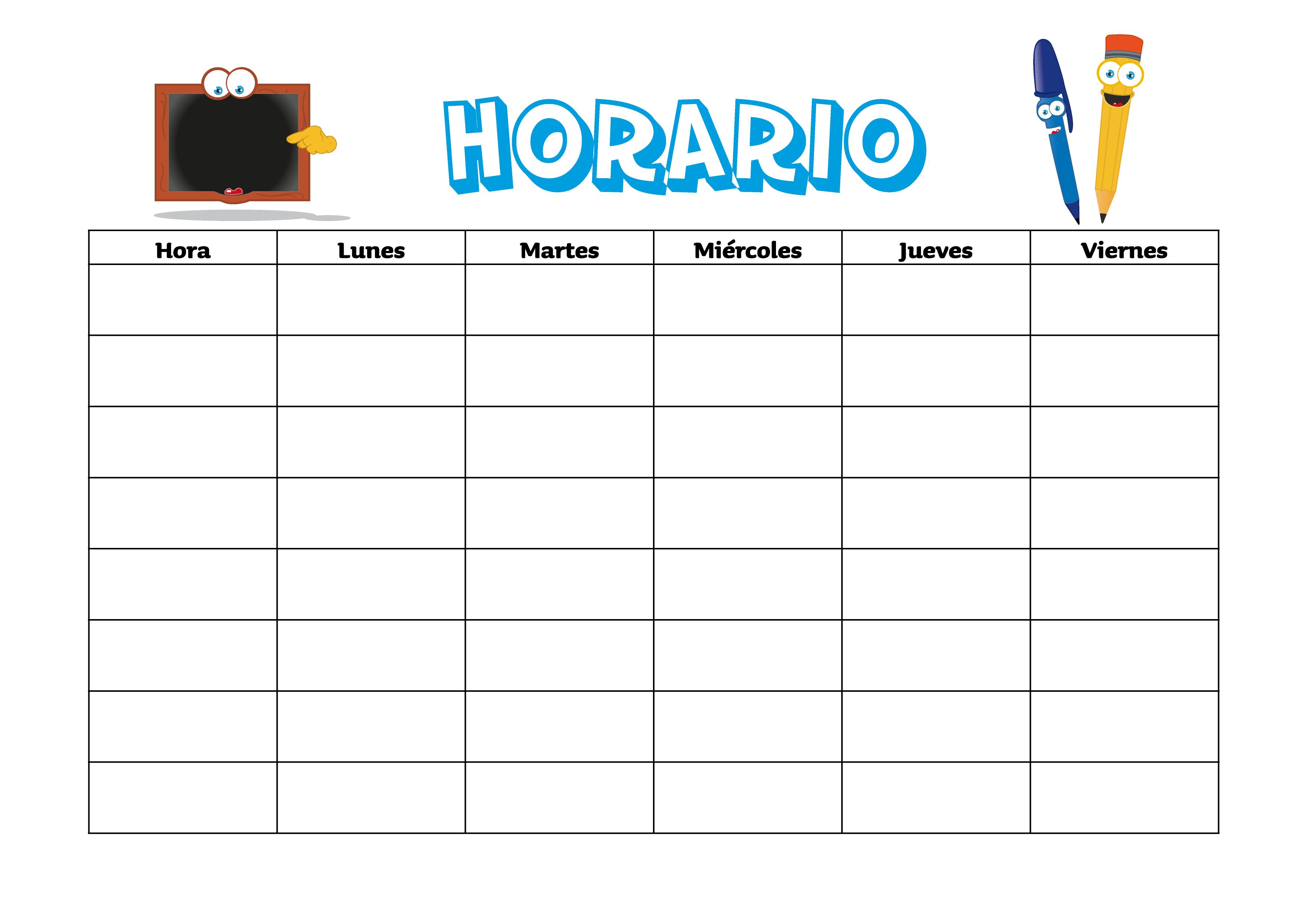 Imagenes Escolares Para Imprimir: Horario Para Estudiantes 1
