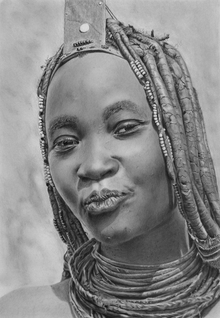 Pencil portrait of a himba woman by latestarter63