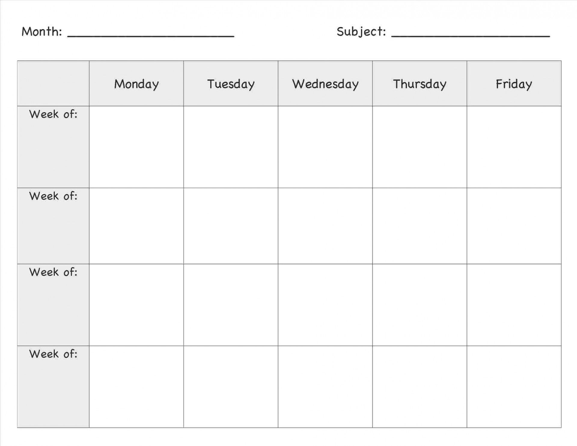 010 Weekly Lesson Plan Template Free Printable Plans