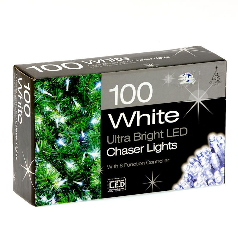 100 white led chaser christmas lights 20
