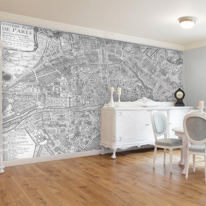 Swag Paper Map of 1705 Huitieme plan de Paris Self