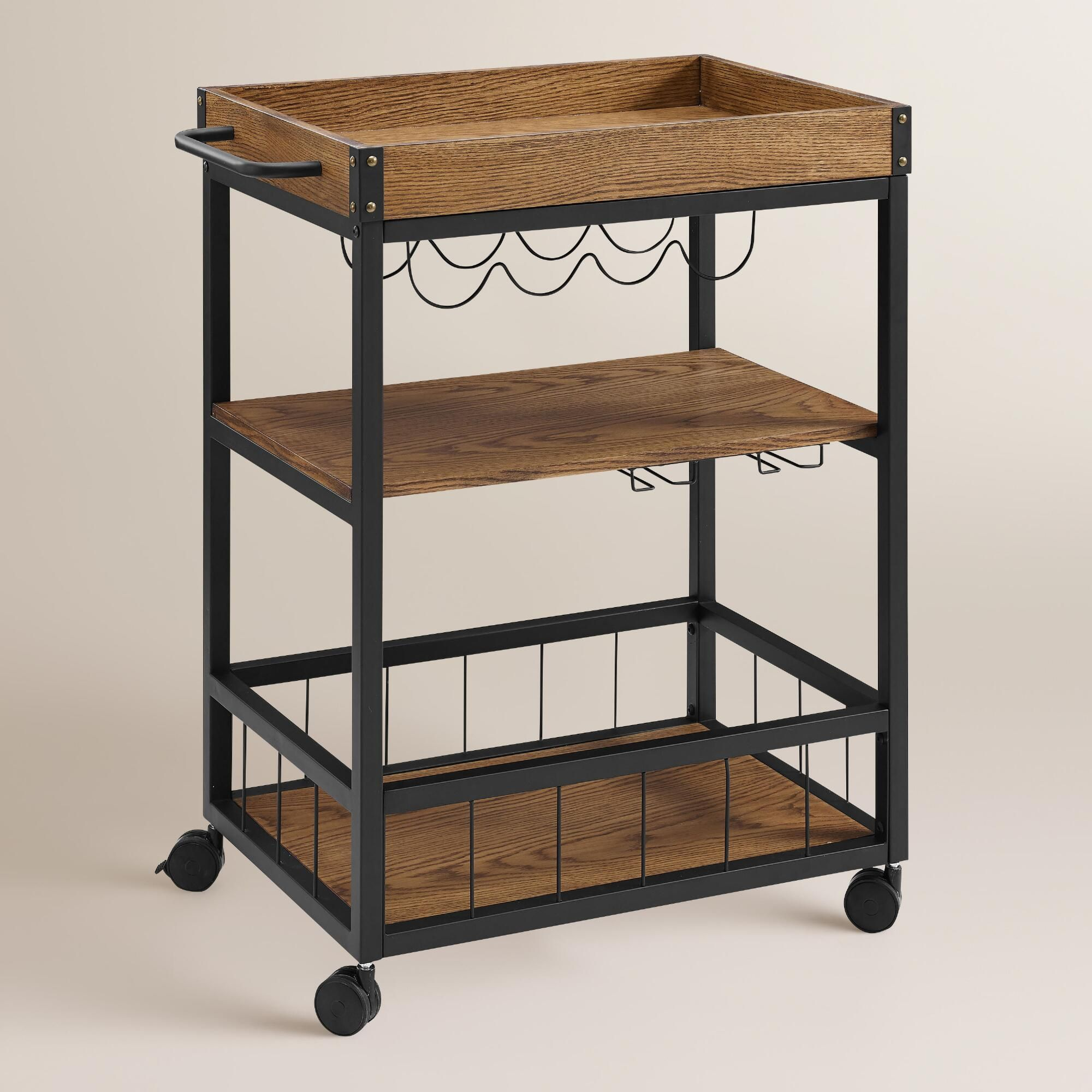 crafted of black metal with rich brown wood plank shelves and top