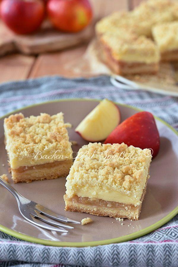 Apfelkuchen mit Pudding und Streuseln – Rezept
