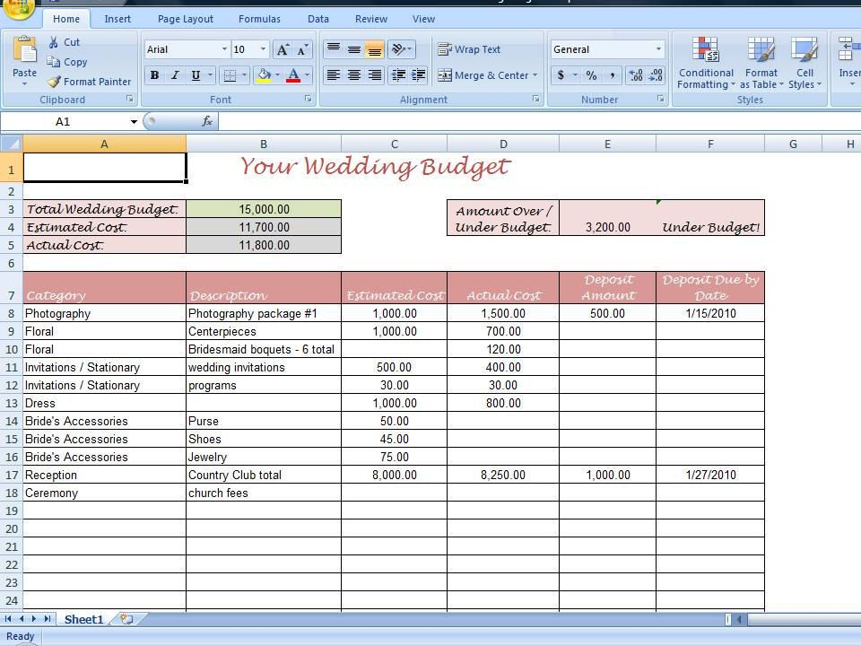 Simple Wedding Budget Worksheet Printable And Editable For Your