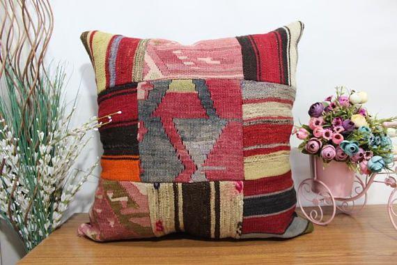 Handmade pachwork kilim pillow floor cushion 24x24 multicolored ...